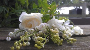 Lily of the valley, Iceberg Rose and Pure white sweet peas