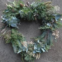 Heart wreath with foliage